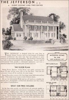 Американский дом: план, французский колониальный, стиль плантаций. 1936 год, компания Sears . Источник http://www.antiquehomestyle.com/